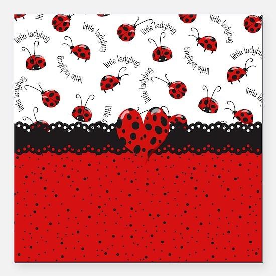 "Ladybugs Dotty World Square Car Magnet 3"" x 3"""