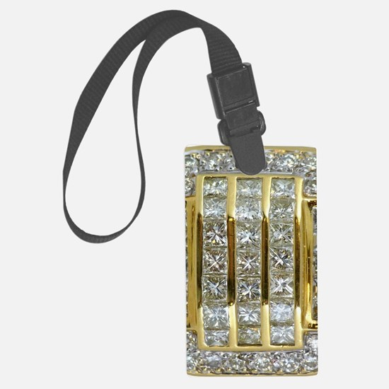 Yellow Gold and Diamond Bling Large Luggage Tag