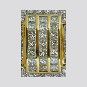 Yellow Gold and Diamond Bling Rectangle Magnet