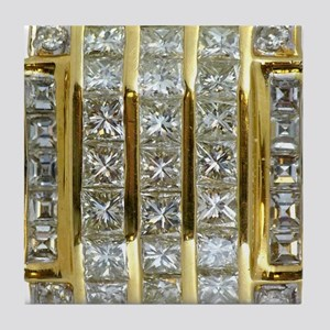 Yellow Gold and Diamond Bling Tile Coaster