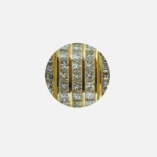 Yellow Gold and Diamond Bling Mini Button