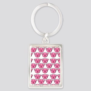 Cute Pink Pigs Portrait Keychain
