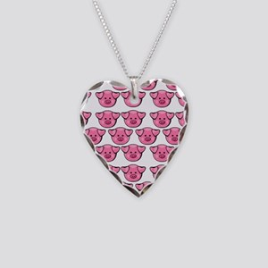 Cute Pink Pigs Necklace Heart Charm