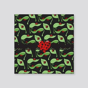 "Ladybug Heart Square Sticker 3"" x 3"""