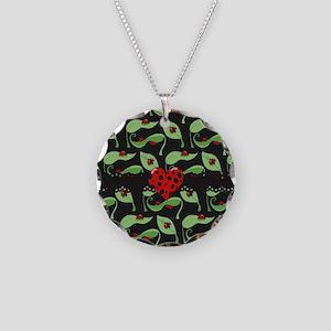 Ladybug Heart Necklace Circle Charm