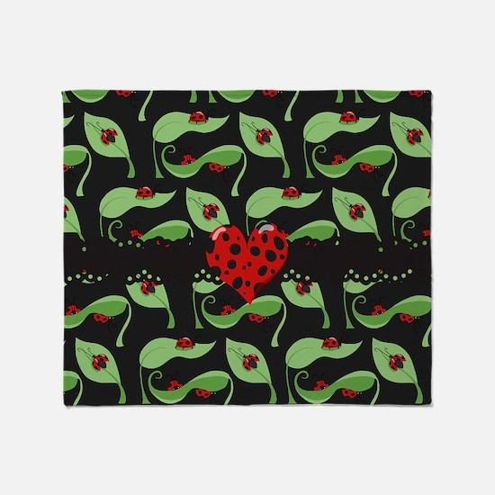 Ladybug Heart Throw Blanket
