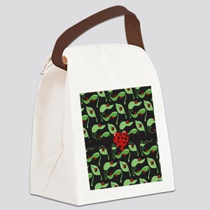 Ladybug Heart Canvas Lunch Bag