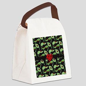 Ladybug Heart Canvas Lunch Bag