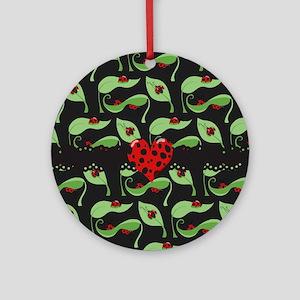 Ladybug Heart Round Ornament