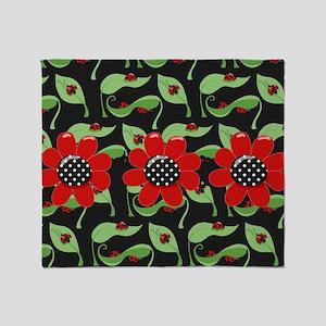 Ladybugs and Flowers Throw Blanket