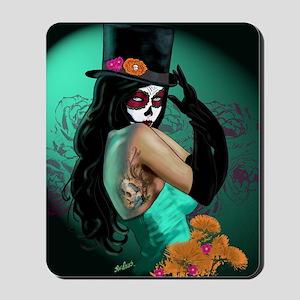 Top Hat Dia de los Muertos Pin-up Mousepad