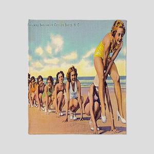 Vintage Carolina Beach Beauties Show Throw Blanket