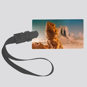 Monkey is a bearded dragon Large Luggage Tag