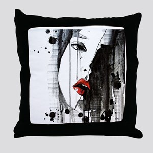 Sexy Woman Watercolor Painting Throw Pillow