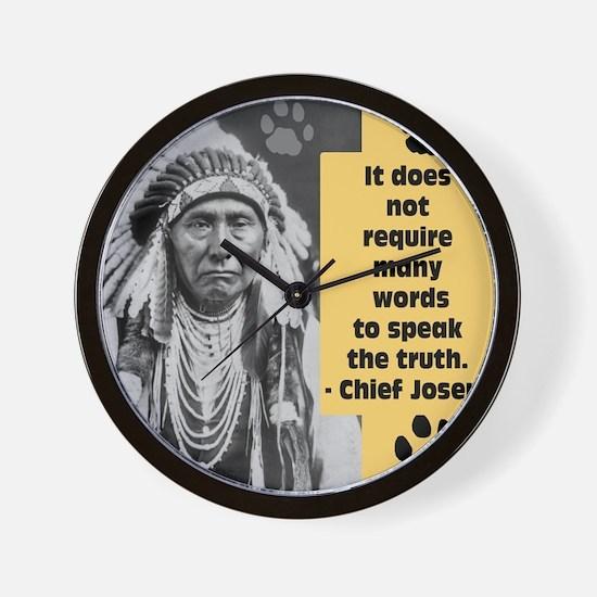 Chief Joseph Quote Wall Clock