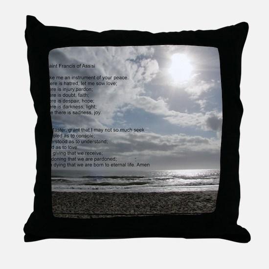 Prayer of St. Francis over beach Throw Pillow