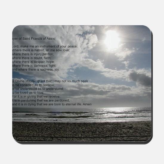 Prayer of St. Francis over beach Mousepad