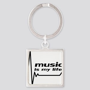 music_is_my_life Square Keychain