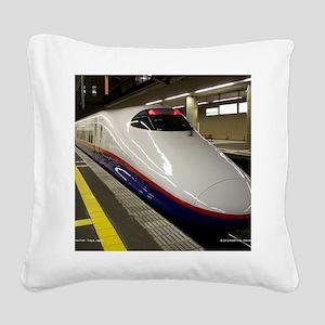Bullet Train Square Canvas Pillow