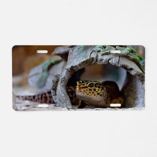 leopard geckos house Aluminum License Plate