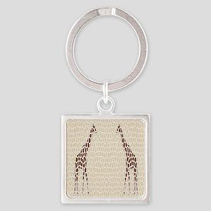 Giraffes Square Keychain