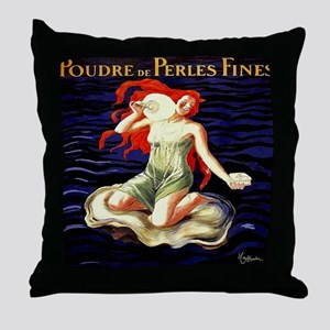 Vintage Woman Oyster Shell Pearls Throw Pillow
