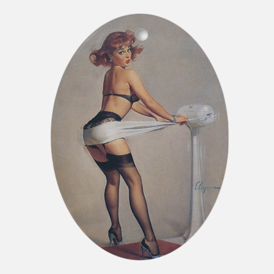 Classic Elvgren 1950s Pin Up Girl Oval Ornament
