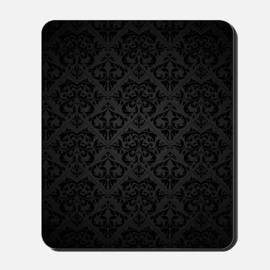 Elegant Black Flourish Mousepad