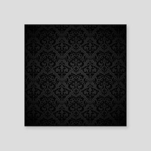 "Elegant Black Flourish Square Sticker 3"" x 3"""