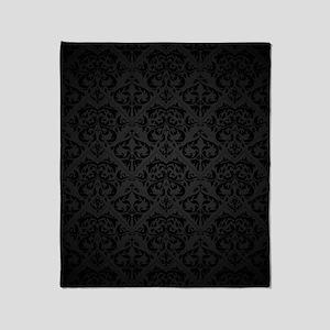 Elegant Black Flourish Throw Blanket