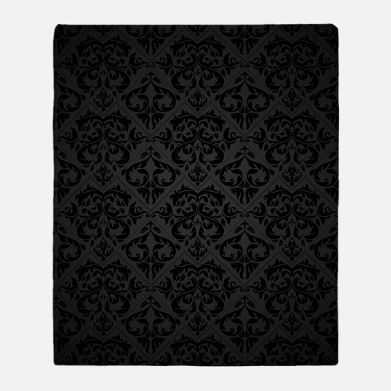 Elegant Black Flourish Throw Blanket