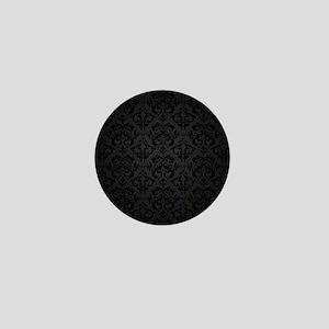Elegant Black Flourish Mini Button