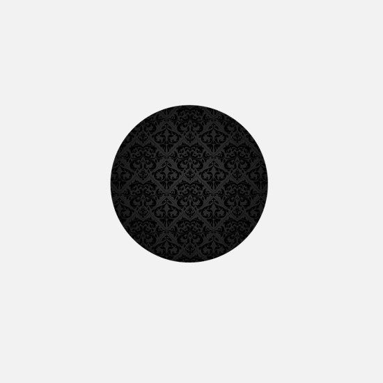 Elegant Black Flourish Mini Button