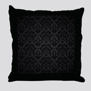 Elegant Black Flourish Throw Pillow