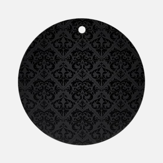 Elegant Black Flourish Round Ornament