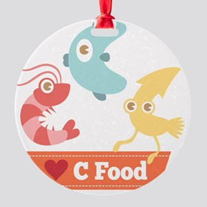 Kawaii and Funny Cartoon on C Food  Round Ornament
