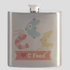 Kawaii and Funny Cartoon on C Food (Seafood) Flask