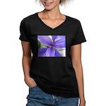 Lavender Iris Women's V-Neck Dark T-Shirt