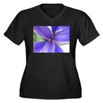 Lavender Iris Women's Plus Size V-Neck Dark T-Shir