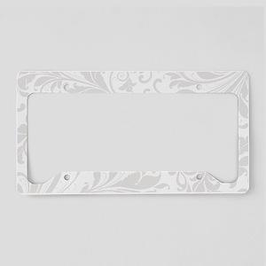 Elegant White Flourish License Plate Holder