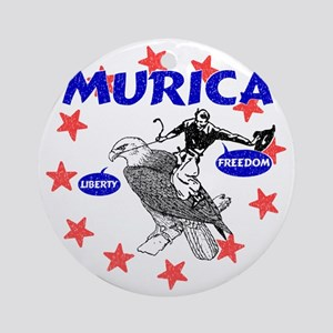 Murica Eagle and Cowboy Round Ornament