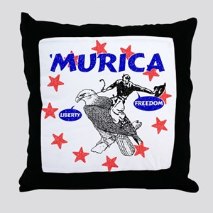 Murica Eagle and Cowboy Throw Pillow