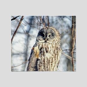 Gray Owl 35x21 Wall Peel-7700hx4900w Throw Blanket