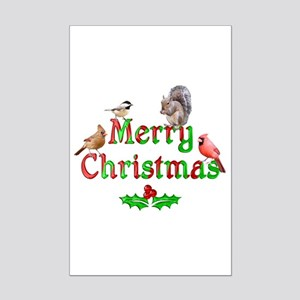 Merry Christmas Birds and Squirr Mini Poster Print