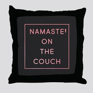 Namaste On The Couch Throw Pillow