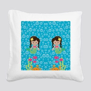 Ethnic Girl Mermaids Square Canvas Pillow