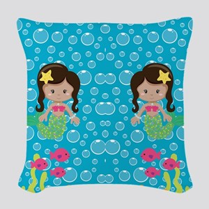 Ethnic Girl Mermaids Woven Throw Pillow