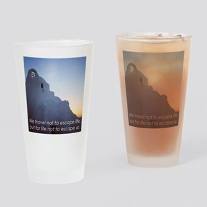 Inspiring Travel Quote T-Shirt (Gre Drinking Glass