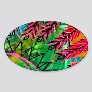Sun Spots Colorful Abstract Paintin Sticker (Oval)