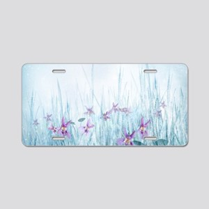 Winter Violets Aluminum License Plate